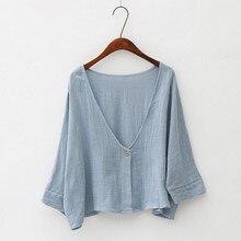 Women Bat Sleeve Cardigan Shawl Tops Shirt Summer Autumn Cotton Linen Thin Soft Anti UV Sunscreen Sh