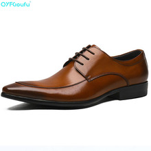QYFCIOUFU Designer Men Casual Leather Shoes Luxury Genuine Leather Business Dress Pointy Shoes Male Flats Oxfords Wedding Shoes