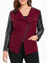 Slim Plus Size Faux Leather Panel Jacket for Women