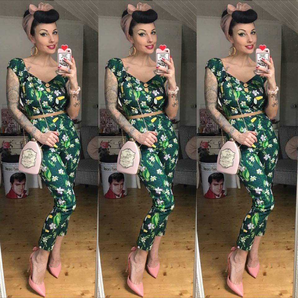 30- Women Vintage 50s Gypsp Tropical Bird Print Long Slim Dolores Jumpsuit In Green Combinaison Femme Playsuit Plus Size Overall