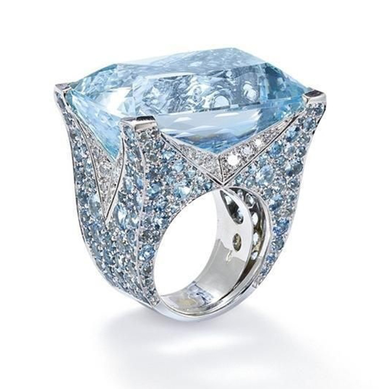 Rhinestone Rings Crystal Glacier Wedding Women Jewelry Blue New-Fashion for Lady Bride