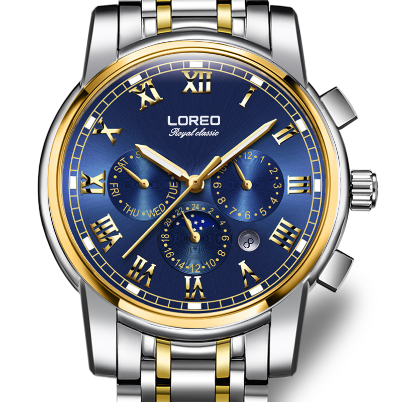 LOREO Germany watches men luxury brand automatic self-wind moon Phase sapphire luminous gold stainless steel relogio masculino loreo 6004 germany watches men luxury brand quartz sapphire water resistant 5atm luminous calendar chronograph relogio masculino
