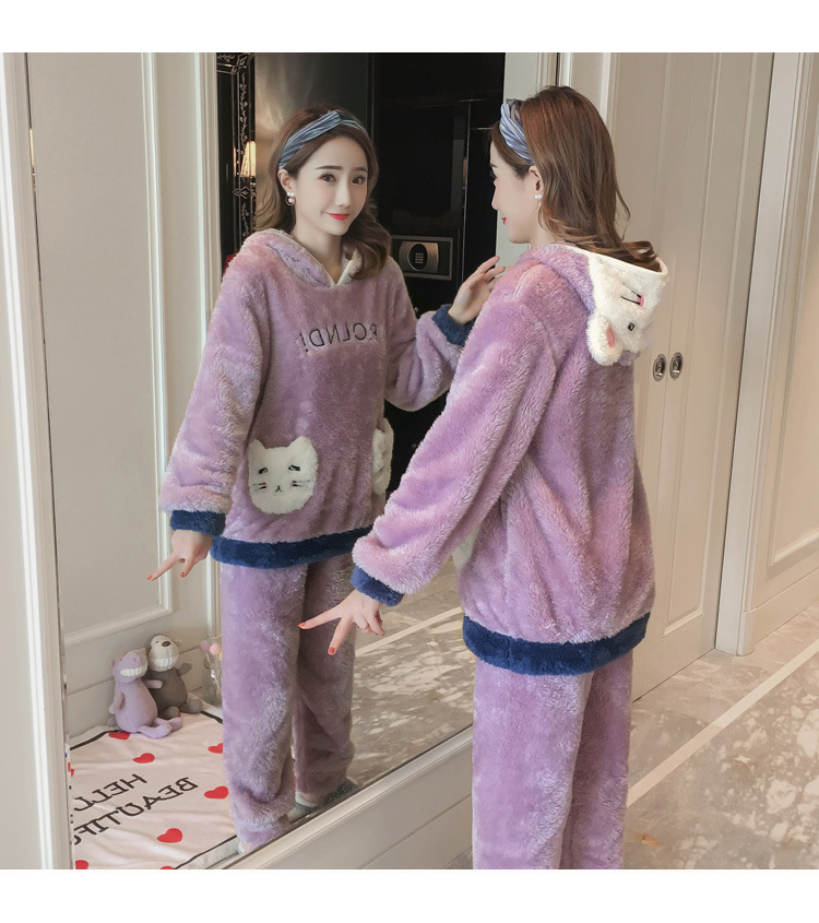 Winter Women Pajama Flannel Sleepwear Long Sleeves Hot Pajamas For Women Velvet Pajama Women Soft Clothing 100