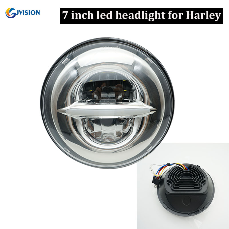 Newest motorbike DRL 7 inch round led High Low beam projector headlight for Harley Davidson Touring Road King headlamp partol 7 round led projector black headlight pc lens with drl for h d fld trike touring softail flhtcuse 7 sealed beam
