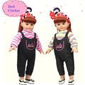Two-Piece Shirt& Jeans Rompers Doll Clothes Fit for 18inch 45cm Alive American Girl Doll Students Style Baby Welcome Accessories