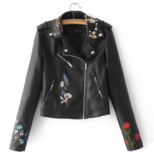 Демисезонный женщин тонкий короткий модный бренд PU куртка на молнии с длинным рукавом Цветочная вышивка искусственная кожа Мотоциклетные Куртки
