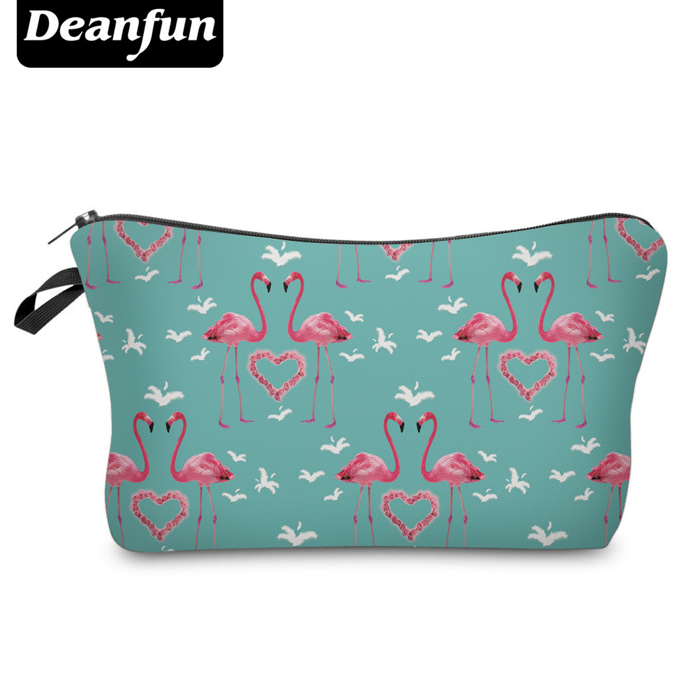 Deanfun Cosmetic Bags 3D Printing Flamingo Heart Women Makeup Organizer For Travel  50067