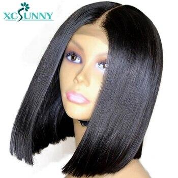 13x6 синтетические волосы на кружеве парик короткие человеческие Искусственные парики боб прямо бразильский волосы remy Предварительно выщип...