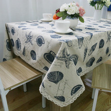 DHANXINZ Shell with English Lace Print Decorative Table Cloth Cotton Linen Tablecloth Dining Table Cover for Kitchen Home Decor