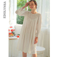 Summer Cotton Vintage Nightgowns & Sleepshirts Women Flare Sleeve O Neck Knitted Pregnancy Sleepwear Babydoll Gowns&Robes T16
