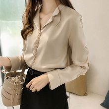 Women Sweet Buckle V Neck Collar Button Shirt Long Sleeve Female Loose Bottoming Blouse Plus Size 4XL Solid Color