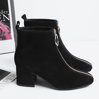 INS hot Women ankle Boots Cow suede 22-25.5 cm length autumn and winter Square toe front zipper ladies boots female+shoes women booties heel high 6cm Tube circumference 27cm
