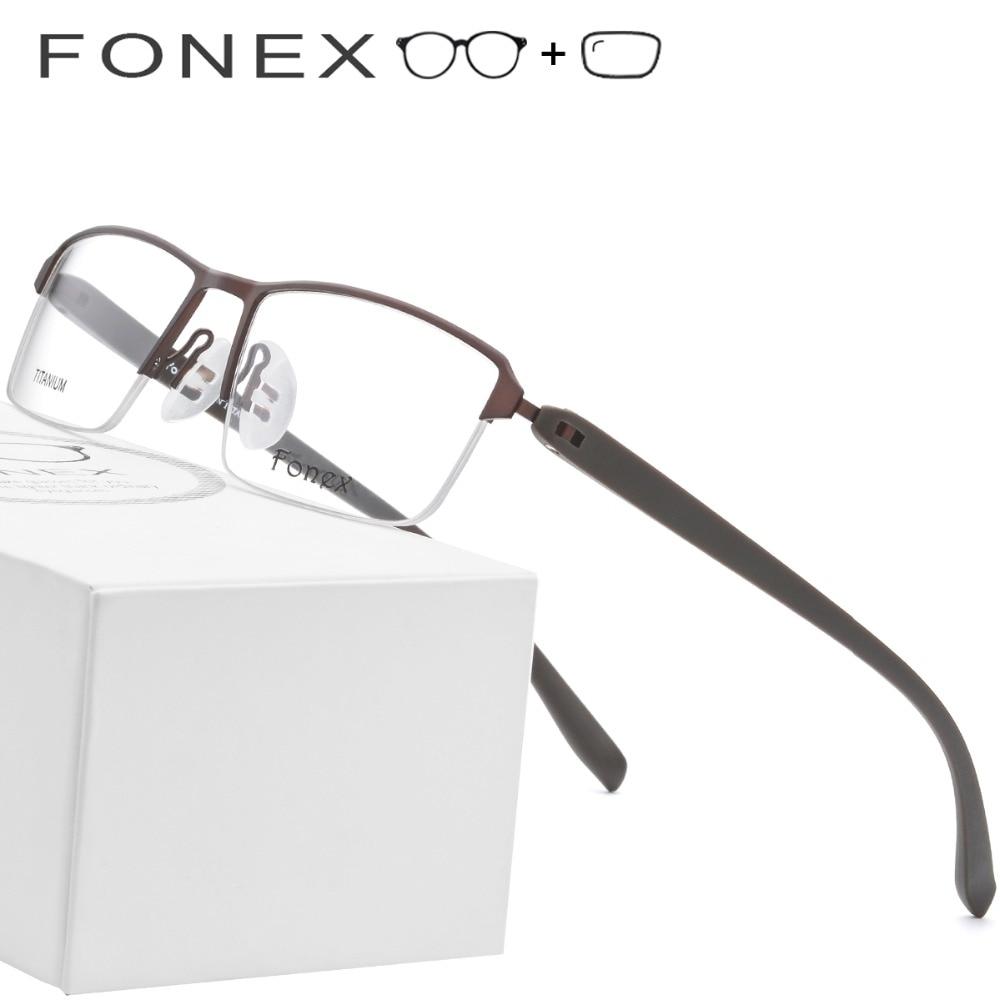 Myopie Titan Männer Optische Ultraleicht Platz Brillen Halb Rahmen Legierung Frauen Tr90 Schraubenlose xF7qw0Ha7