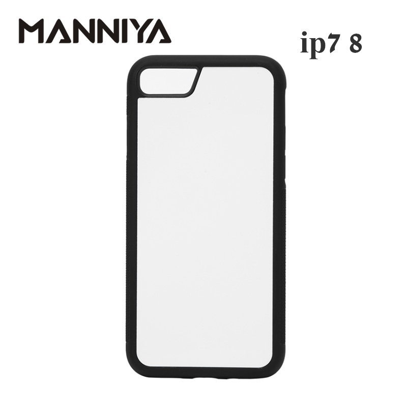 MANNIYA Blank 2D Sublimation TPU+PC Case for iphone 7 8 with Aluminum Inserts and glue Free Shipping! 100pcs/lot