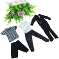3pcs/set Ken Dolls Clothes Male Clothes For Prince Ken Dolls Daily Wear Accessories Random Fashion Outfit For Barbi Boyfriend
