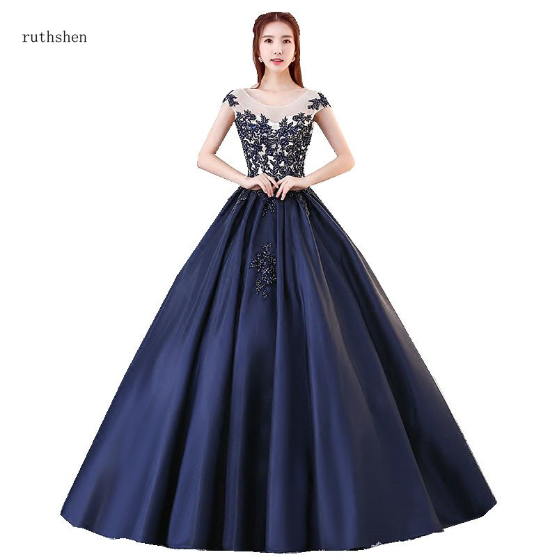 Blue And White Ball Gowns ruthshen Navy B...