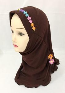 Image 5 - Muslim Girls Hijab Kids Wrap Shawl Islamic Head Scarf Amira One Piece Hijab Cap