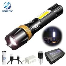 Lampe torche Super lumineuse LED étanche, avec COB, 3 modes déclairage, alimenté par batterie 18650, lampe latérale rotative, pour le camping