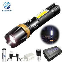 Super bright Waterproof LED Flashlight With COB side light Rotary zoom 3 lighting modes Powered by 18650 battery for camping
