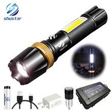 Super helle Wasserdichte LED Taschenlampe Mit COB seite licht Dreh zoom 3 beleuchtung modi Angetrieben durch 18650 batterie für camping