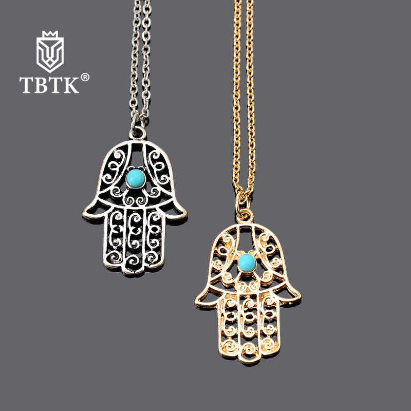 TBTK Luck Hamsa Hand Pendants Necklace Hollow Gold/Silver Fatima Palm Hand With Beautiful Blue Stones Simple Style Jewelry Man