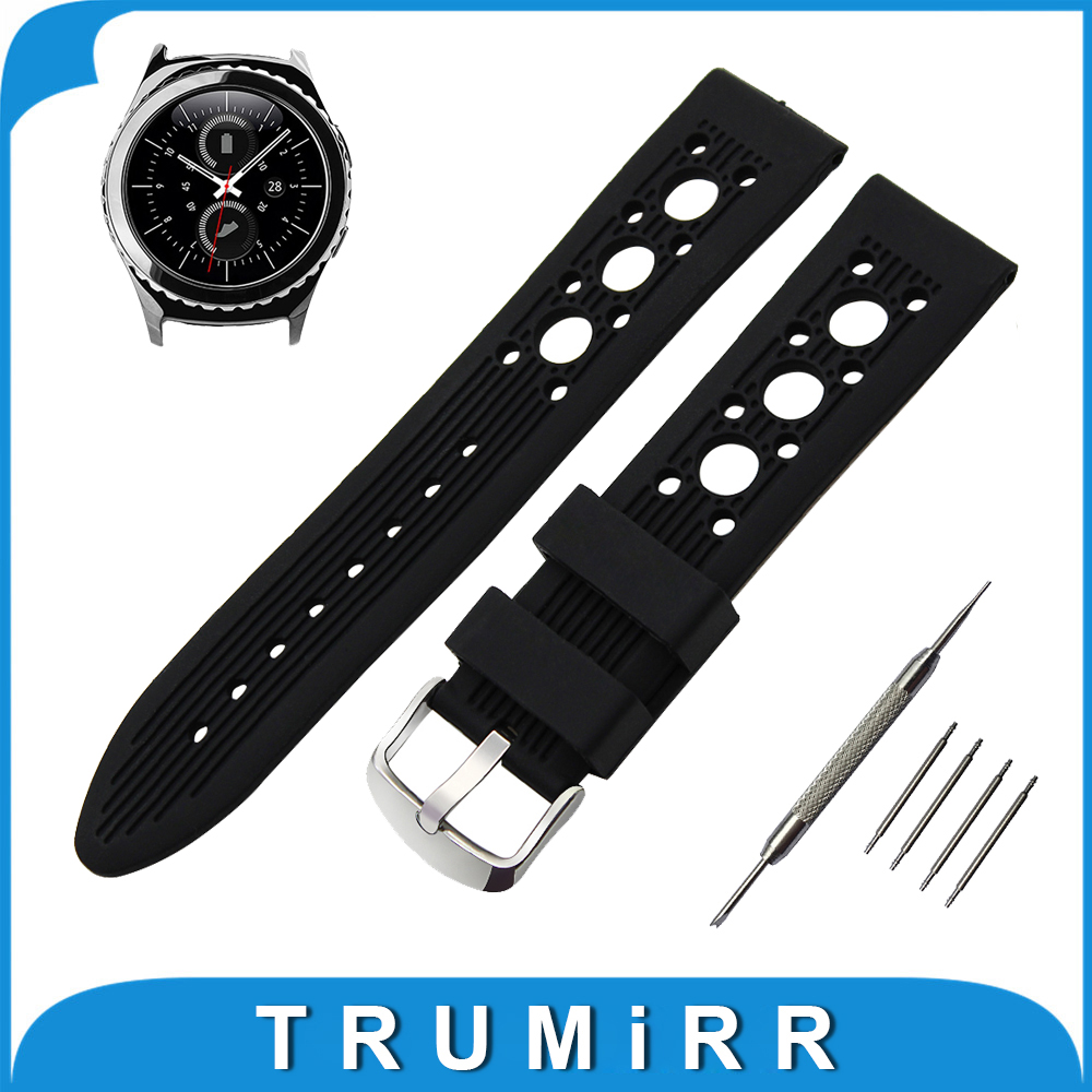 20mm Silicone Rubber Watch Band for Samsung Gear S2 Classic R732 / R735 Stainless Tang Buckle Wrist Strap Bracelet + Spring Bar 2016 silicone rubber watch band for samsung galaxy gear s2 sm r720 replacement smartwatch bands strap bracelet with patterns