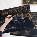 2016 Моды DIY Рисунок Картину Настенной Живописи Скретч-Карты 9 Город Золотой Ночной Вид Краски Искусства Бумаги Home Decor