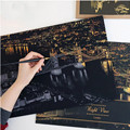 2016 de La Manera DIY de Dibujo Pintura Mural Imagen Scratch Card 9 Golden City Night View Pintura Artes Decoración de Papel En Casa