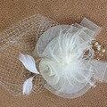 Marfim Preto Rosto Véu Camadas Simples Véus de Noiva Tulle Pena Acessórios Do Casamento Véus de Noiva Para O Vestido de Casamento Gaiola de Pássaro