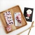 Flor 3d caliente cereza pétalo de la flor case cover para apple iphone 7 7 plus case lujo fundas para 6 6 s más suave del teléfono de tpu case
