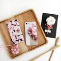 Hot 3d flor de cerejeira da pétala da flor case capa para apple iphone 7 fundas 7 plus case luxo para 6 6 s plus tpu macio phone case