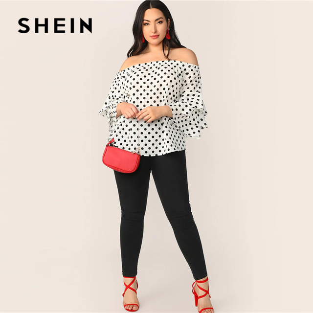 SHEIN Plus Size White Polka-Dot Layered Sleeve Off Shoulder Top Blouse 2019 Women Spring Summer Boho Ruffle Sleeve Blouses Shirt 3