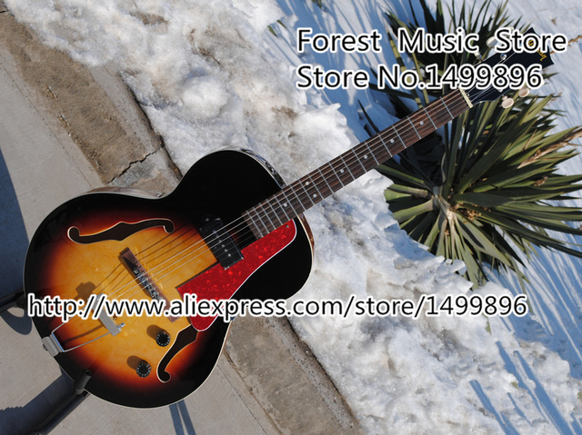 Cheap China Custom Shop Vintage Sunburst ES Jazz Guitarra Electric Hollow Guitarra Body With Single P-90 Pickup Free Shipping