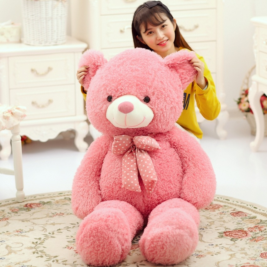 large 120cm pink teddy bear plush toy bowtie bear soft doll sleeping pillow Christmas gift b1905 100 cm pink or blue scarf bear plush toy teddy bear doll gift w4098
