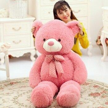 large 120cm pink teddy bear plush toy bowtie bear soft doll sleeping pillow Christmas gift b1905