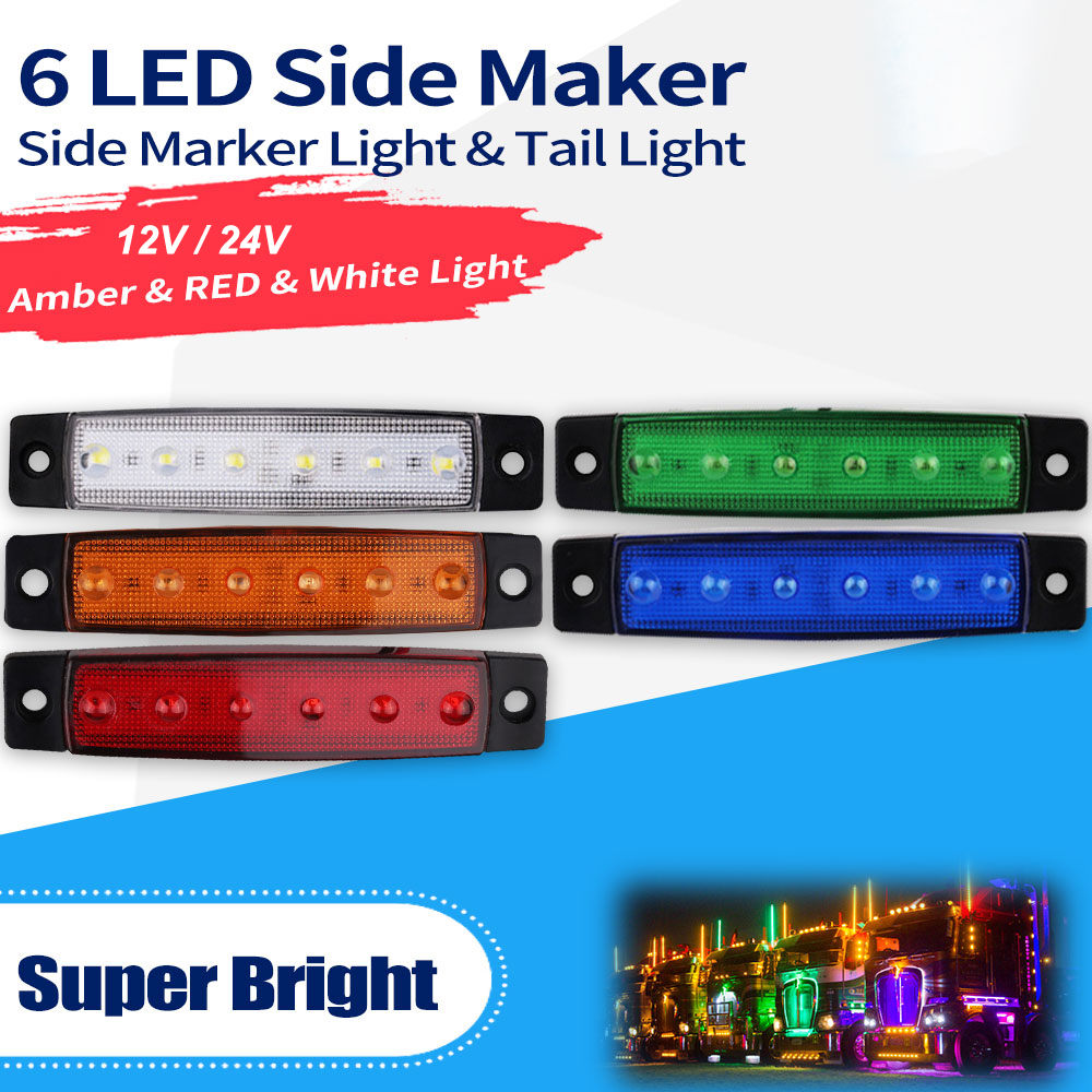 Car External Lights DC LED 24V 6 SMD LED Auto Car Bus Truck Lorry Side Marker Indicator Low Led Trailer Light Rear Side Lamp