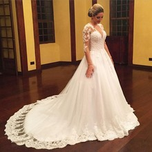 2016 Vintage Lace Long Sleeve Muslim Wedding Dress Custom Made V Neck Appliques Beading Ball Gown
