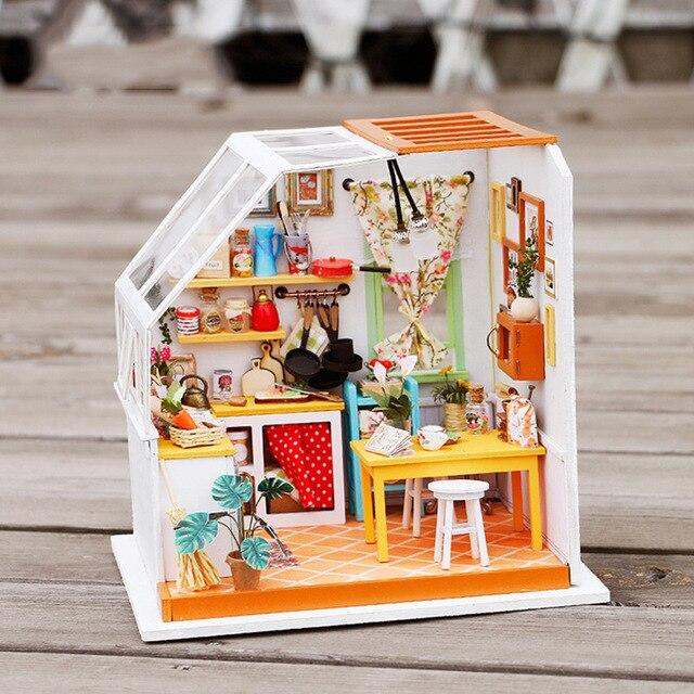 112 Miniatura Wooden DIY Doll House Furniture Dollhouse Miniature Kitchen Puzzle Toy Model Kits