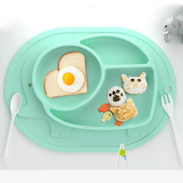 Elephant Silicone One-piece Plate Children's Dishes Sucker Bowl Baby Dishes Baby Food Baby Feeding Kids Plate Children's Plate