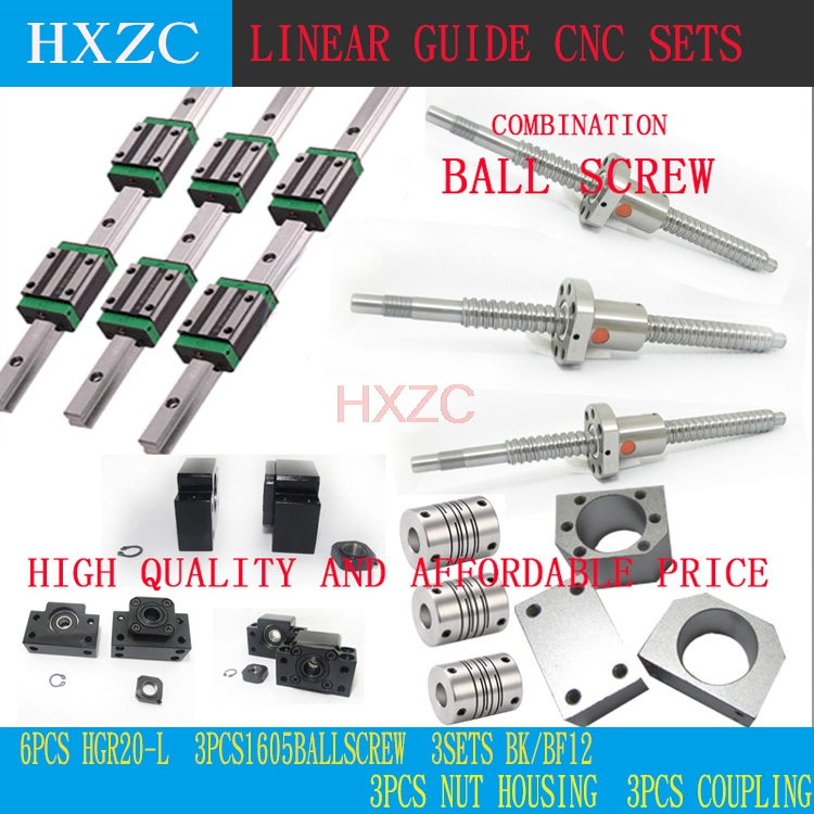12pcs HGH20CA Square Linear guide sets + 3pcs Ballscrew SFU605- + BK BF12 + jaw Flexible Coupling Plum Coupler for cnc 12 hbh20ca square linear guide sets 1 sfu1605 450 2sfu2010 1700mm ballscrew sets bk bf12 bkbf15 3 jaw flexible coupler