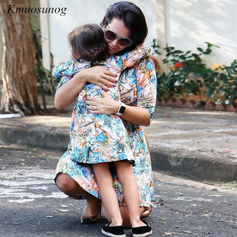 Mother-Daughter-Dresses-Half-Sleeve-V-neck-Mini-Dress-Mother-and-Daughter-Clothes-Spring-Leaf-Flowers (1)