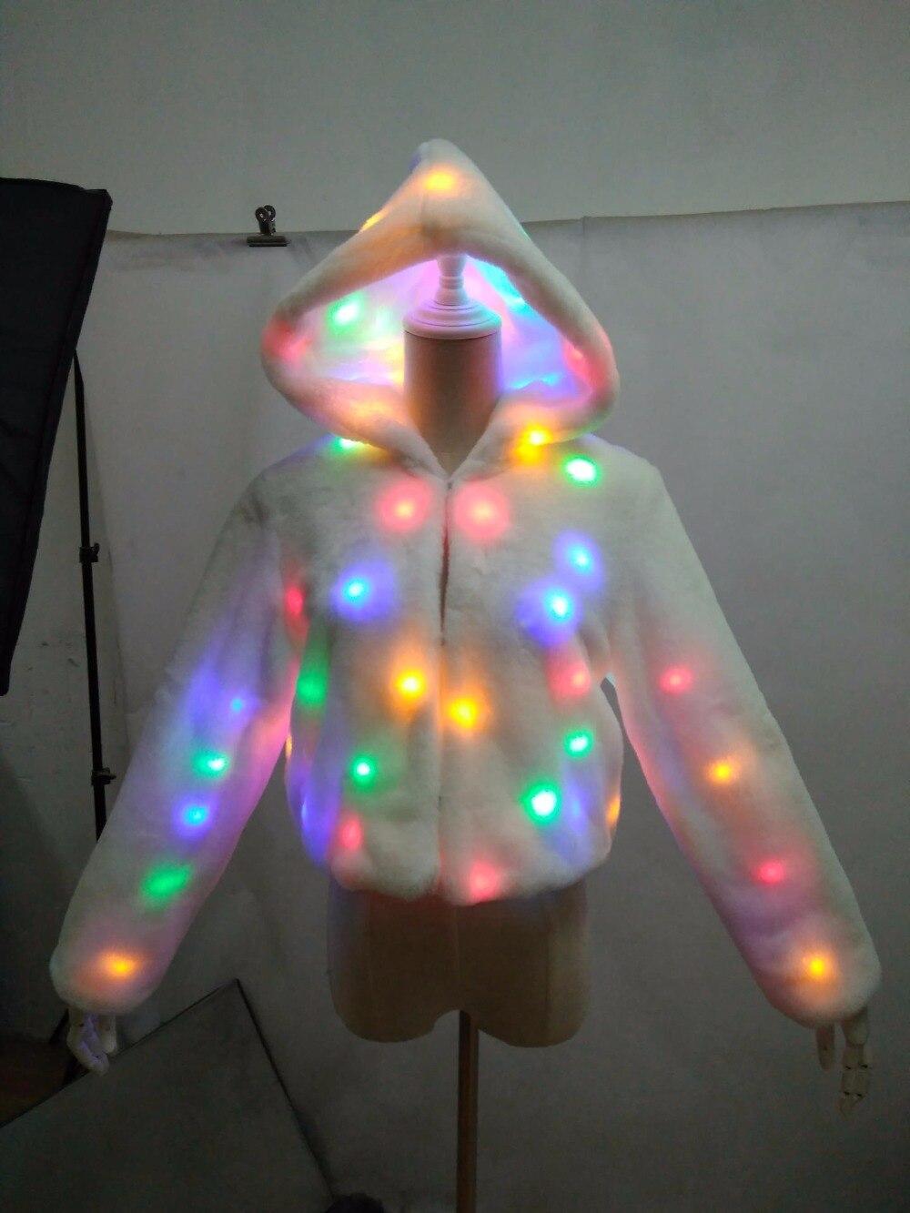 Autumn winter band lantern bar performance clothing LED lights music festival clothing dance team coat Faux Fur free shipping