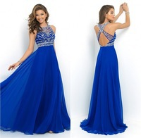 Royal Blue Prom Dresses Line Scoop Crystal Beaded Sleeveless Chiffon Long Formal Evening Criss Cross Sexy - Weddings & Events Collection store
