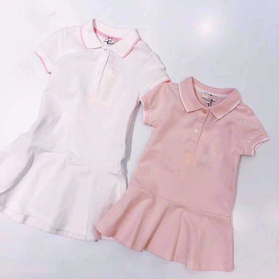 2019 bambin filles robe polocolor solide blanc et rose dentelle robe Boutique princesse fête robe pour filles vêtements 3 4 6 8 10 Y