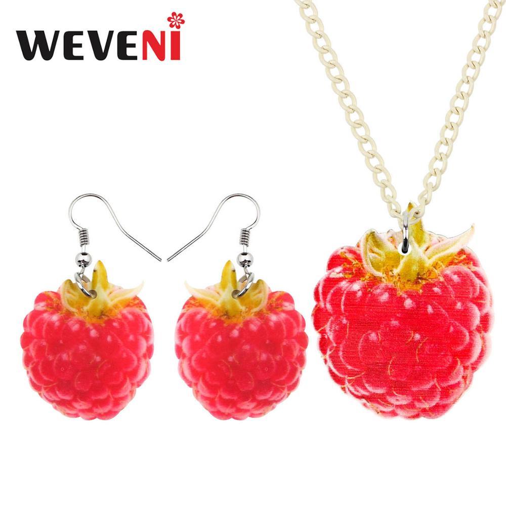 WEVENI Acryl Schmuck Set Nette Süße Rote Himbeere Halskette Ohrringe Kragen Anhänger Für Frauen Mädchen Party Geschenk Dekorationen