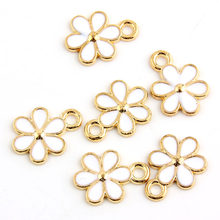 10pcs 11x15mm Alloy Chrysanthemum Gold color Enamel Charm Pendant Fit DIY jewelry Making Necklace Earrings(China)