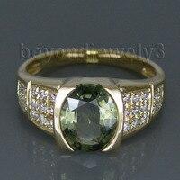Прекрасные старинные 14Kt желтое золото природных алмазов зеленый сапфир кольцо Овальный 7x9 мм для продажи WU104