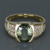 Lovely Vintage 14Kt Yellow Gold Natural Diamond Green Sapphire Ring Oval 7x9mm For Sale WU104