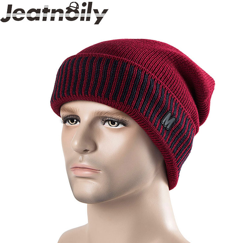 Men's Skullies Winter Wool Knitted Hat Casual Stripes M Cap Plus Velvet Cap Thicker Mask Beanies For Men 7 Colors skullies