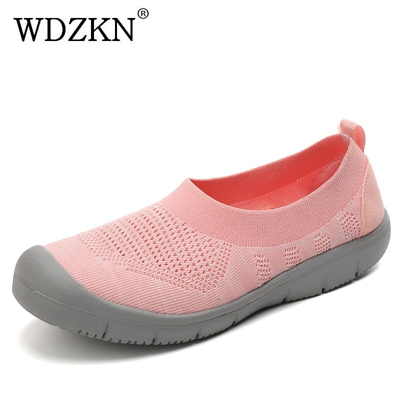 WDZKN Big Size 35-42 Women Flat Shoes Breathable Flying Weaving Mesh Round Toe Slip On Loafers Women Summer Casual Boat Shoes